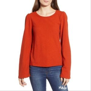 Madewell Texture and Thread puff shoulder top M